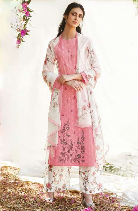 Casual Cotton Jacquard Ready-to-Stitch Salwar Kameez In Pink - FLE912