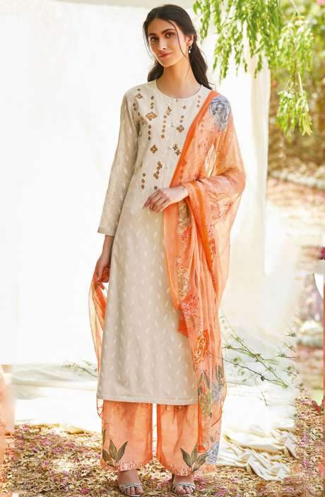 Casual Cotton Jacquard Ready-to-Stitch Salwar Kameez In Cream - FLE918