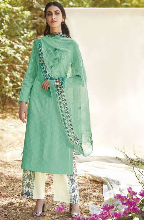 Casual Cotton Jacquard Ready-to-Stitch Salwar Kameez In Green - FLE926