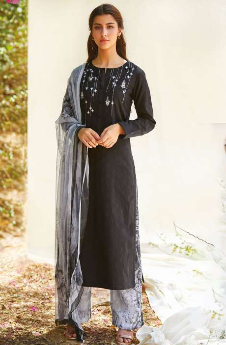 Casual Cotton Jacquard Ready-to-Stitch Salwar Kameez In Black - FLE963