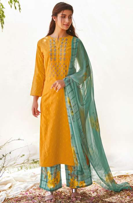 Casual Cotton Jacquard Ready-to-Stitch Salwar Kameez In Mustard Yellow - FLE989