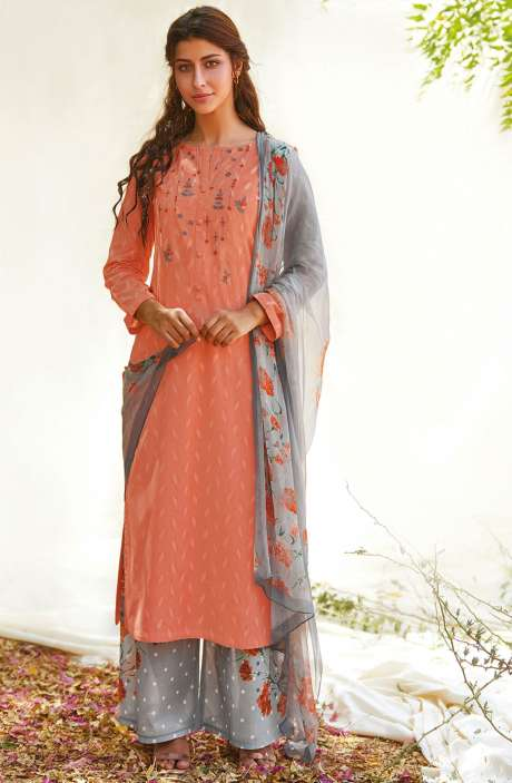 Casual Cotton Jacquard Ready-to-Stitch Salwar Kameez In Peach - FLE990