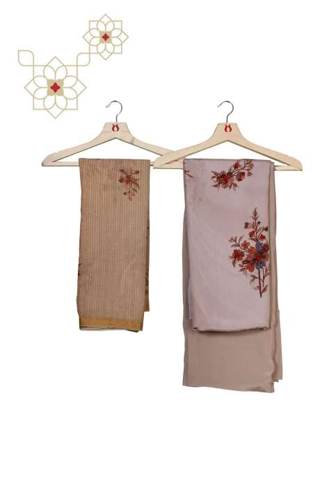 Crepe Unstitched Salwar Suit Set in Beige - FLOR845