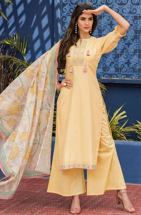 Yellow Handloom Cotton Embroidered Unstitched Salwar Kameez with Crystal Highlights - GAG2591