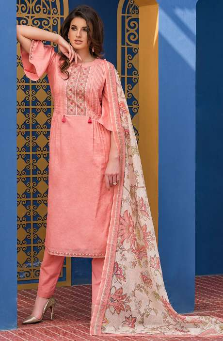 Peach Handloom Cotton Embroidered Unstitched Salwar Kameez with Crystal Highlights - GAG2596