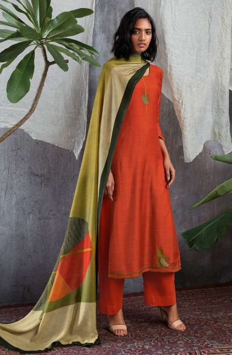 Cotton Silk Digital Printed with Work Salwar Kameez In Orange - GIS0055