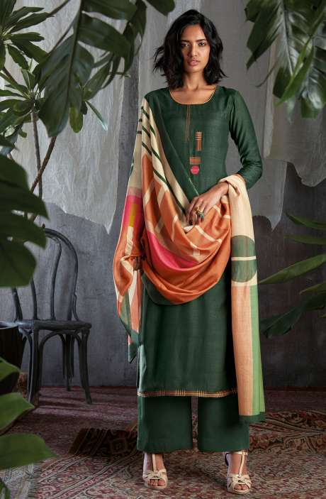 Cotton Silk Digital Printed with Work Salwar Kameez In Olive Green - GIS0056