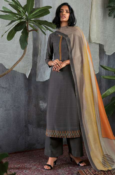Cotton Silk Digital Printed with Work Salwar Kameez In Grey - GIS0057