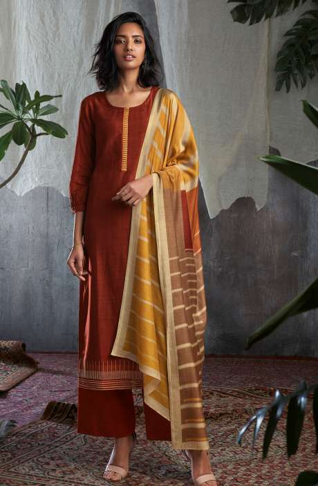 Cotton Silk Digital Printed with Work Salwar Kameez In Maroon - GIS0058
