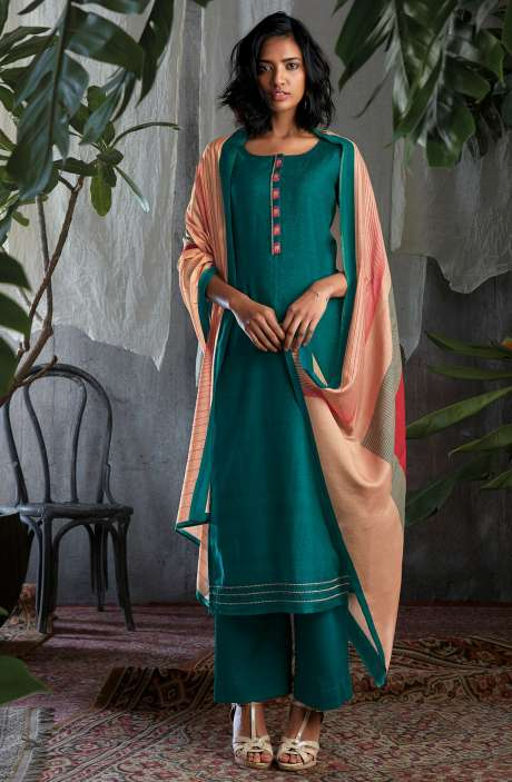 Cotton Silk Digital Printed with Work Salwar Kameez In Firozi - GIS0059