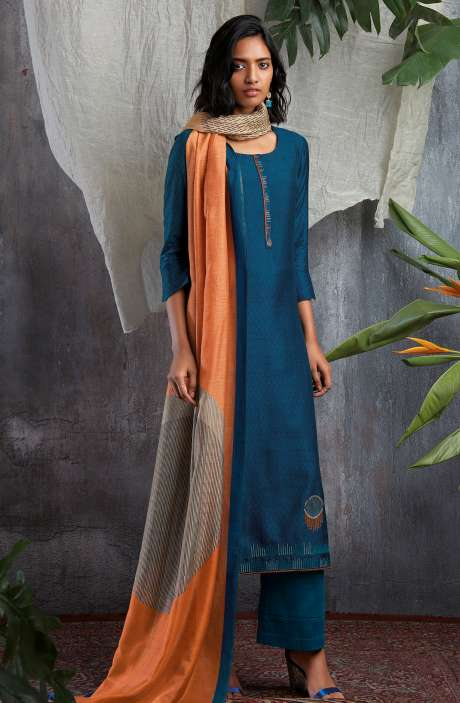 Cotton Silk Digital Printed with Work Salwar Kameez In Blue - GIS0061