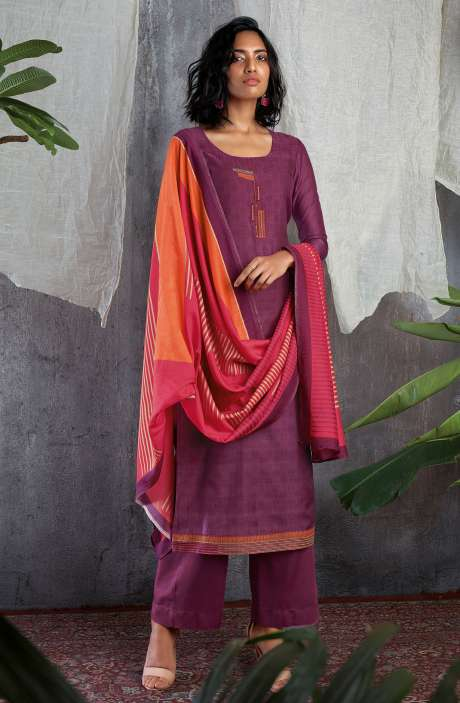 Cotton Silk Digital Printed with Work Salwar Kameez In Purple - GIS0063