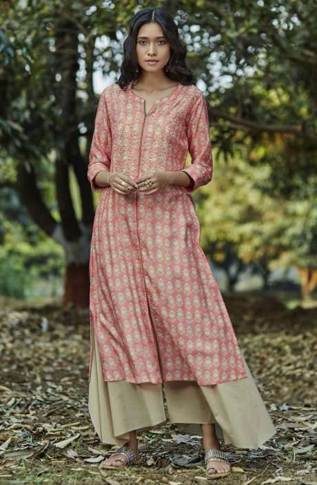 Trendy Rayon Digital Printed with Embellished Womens Kurti with Palazzo In Pink - GNRD5921