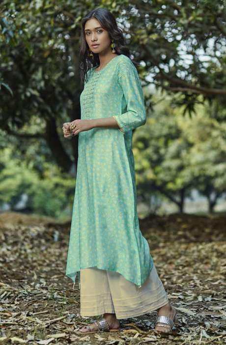 Trendy Rayon Digital Printed with Embellished Womens Kurti with Palazzo In Sea Green - GNRD5923