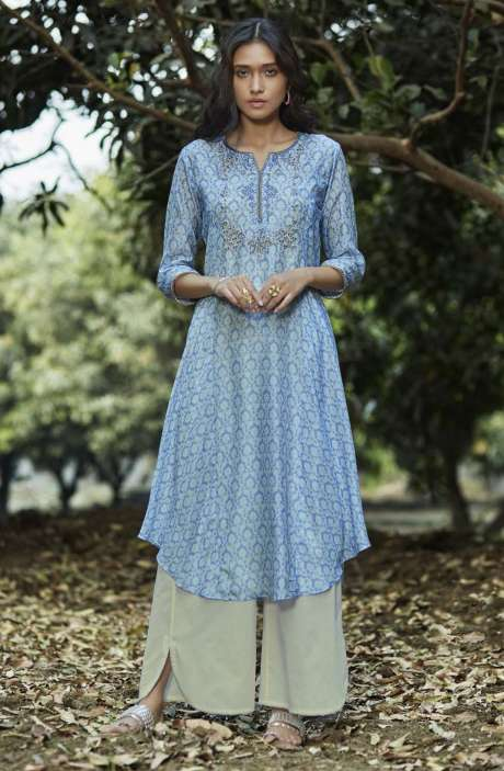 Rayon Digital Print with Embellished Women Kurtis with Palazzo Sets In Sky Blue - GNRD5924