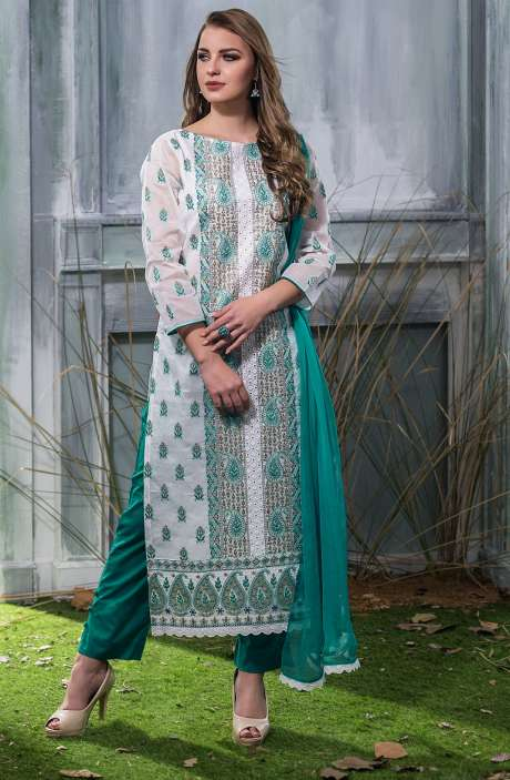 Machine Embroidery with Cutwork Organdy Cotton Salwar Dress Material In White and Green - GOO1940B