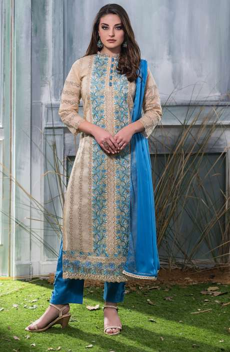 Machine Embroidery with Cutwork Organdy Cotton Salwar Dress Material In Beige and Blue - GOO1941A