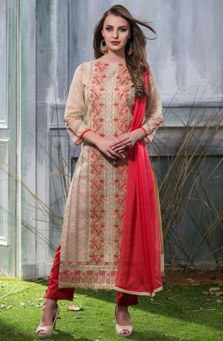 Machine Embroidery with Cutwork Organdy Cotton Salwar Dress Material In Beige and Red - GOO1941B