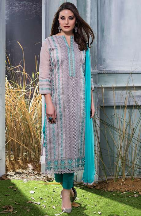 Machine Embroidery with Cutwork Organdy Cotton Salwar Dress Material In Grey and Green - GOO1942A