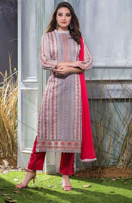Machine Embroidery with Cutwork Organdy Cotton Salwar Dress Material In Grey and Red - GOO1942B