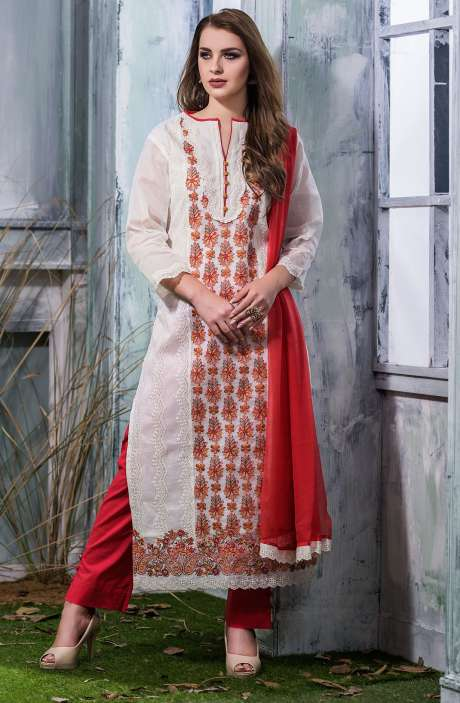 Machine Embroidery with Cutwork Organdy Cotton Salwar Dress Material In White and Red - GOO1943B