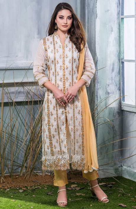 Machine Embroidery with Cutwork Organdy Cotton Salwar Kameez In White and Yellow - GOO1944A