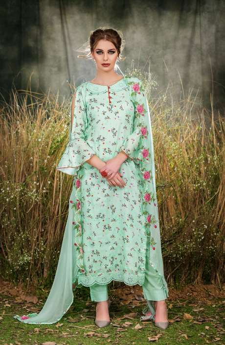 Exclusive Floral Print Cotton Pista Green Salwar Suit with Cut Work Embroidery - GUL1930A