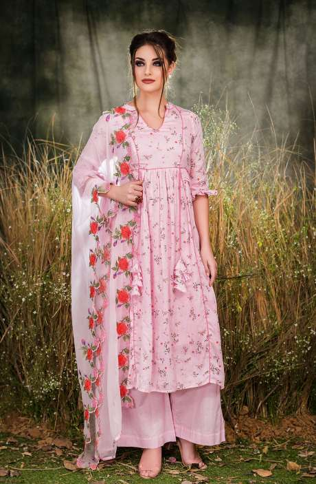 Exclusive Floral Print Cotton Pink Salwar Suit with Cut Work Embroidery - GUL1930B-R