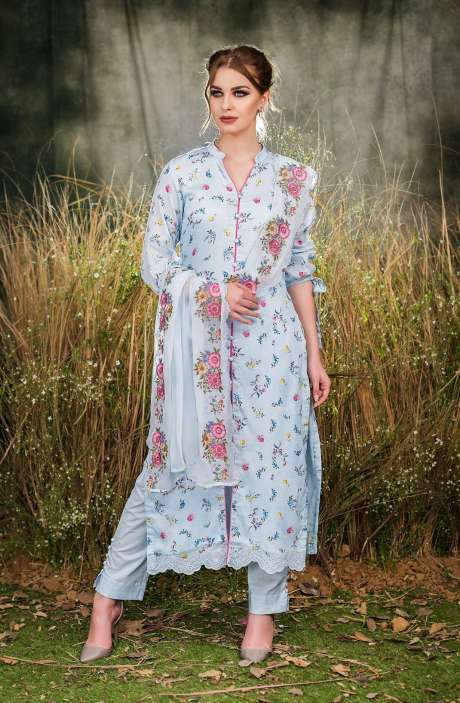 Exclusive Floral Print Cotton Light Blue Salwar Suit with Cut Work Embroidery - GUL1931A-RE