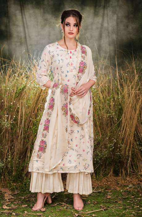 Exclusive Floral Print Cotton Cream Salwar Suit with Cut Work Embroidery - GUL1931B-RE