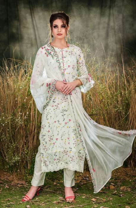 Exclusive Floral Print Cotton Light Green Salwar Suit with Cut Work Embroidery - GUL1932A