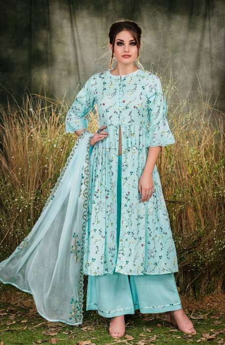 Exclusive Floral Print Cotton Mint Green Salwar Suit with Cut Work Embroidery - GUL1932B