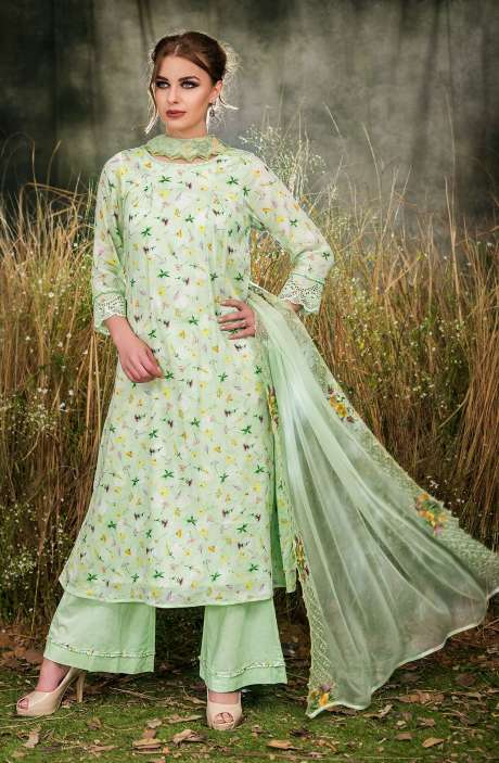Exclusive Floral Print Cotton Pista Green Salwar Kameez with Cut Work Embroidery - GUL1933A-RE