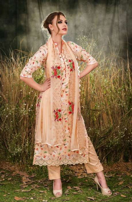 Exclusive Floral Print Cotton Light Orange Salwar Suit with Cut Work Embroidery - GUL1933B
