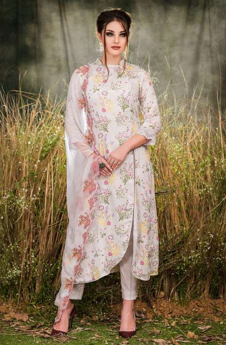 Exclusive Floral Print Cotton Light Grey Salwar Suit with Cut Work Embroidery - GUL1934A-R