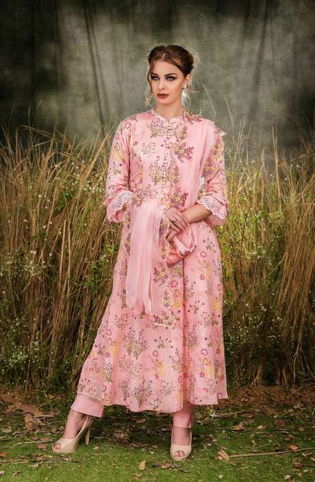 Exclusive Floral Print Cotton Peach Salwar Suit with Cut Work Embroidery - GUL1934B-RE