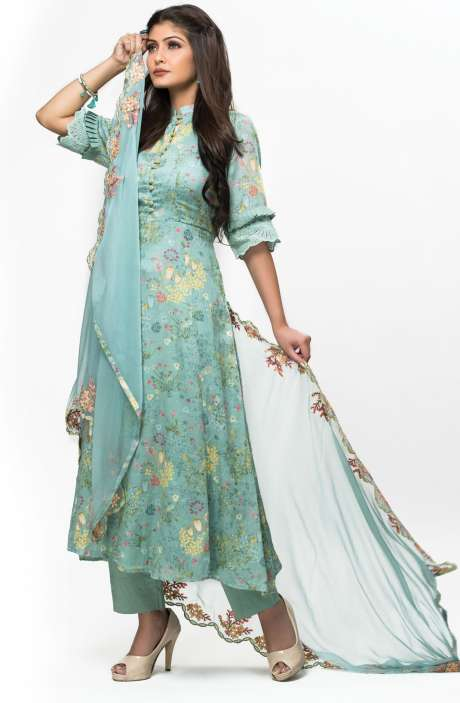 Exclusive Digital Printed with Lace Embroidery Cotton Salwar Kameez In Pastel Green - GUL2411