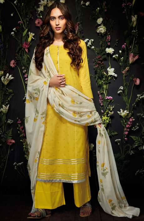 Cotton Unstitched Gota Patti Work Salwar Suit in Yellow - HAR7246