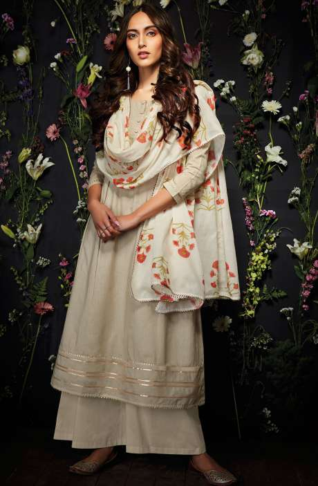 Cotton Unstitched Gota Patti Work Salwar Suit in Beige - HAR7247