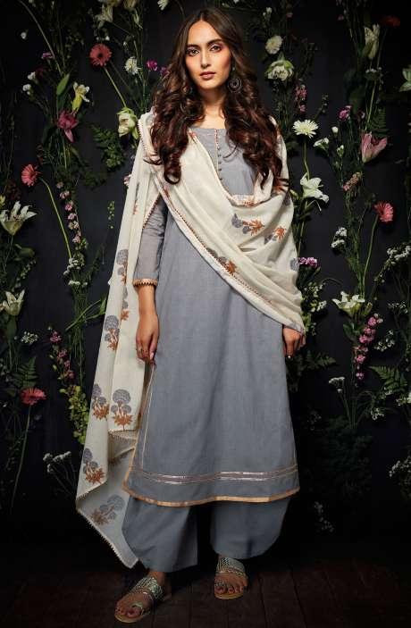 Cotton Unstitched Gota Patti Work Salwar Suit in Grey - HAR7249
