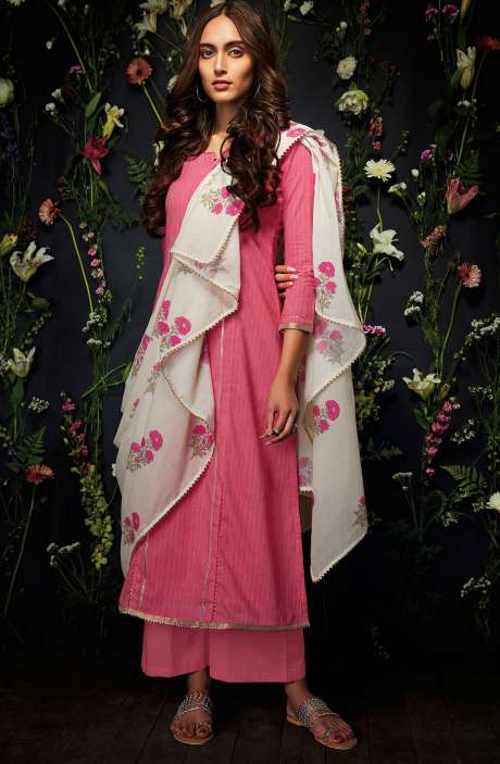 Cotton Unstitched Gota Patti Work Salwar Suit in Pink - HAR7250