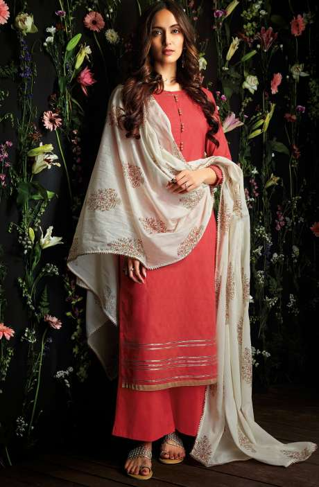 Cotton Unstitched Gota Patti Work Salwar Suit in Coral - HAR7253