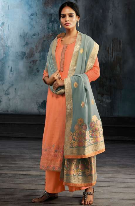Designer Silk Salwar Kameez with Banarasi Jacquard Dupatta In Orange - HEL7910