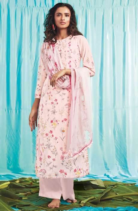 5767a7e4d4 TACFAB Cotton Digital Print Salwar Suit Sets In Baby Pink - HERB1045
