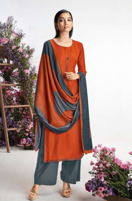 Spun Printed Salwar Kameez In Rust & Grey - HIMS0192B