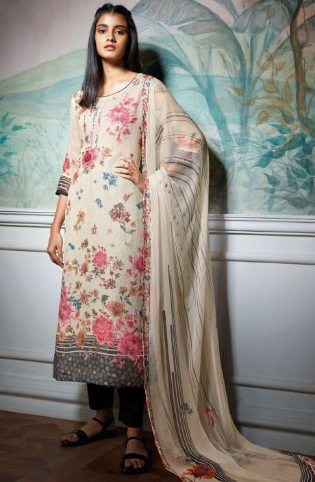 Cotton Linen Digital Floral Print Salwar Suit Sets In Cream - HOL7312R