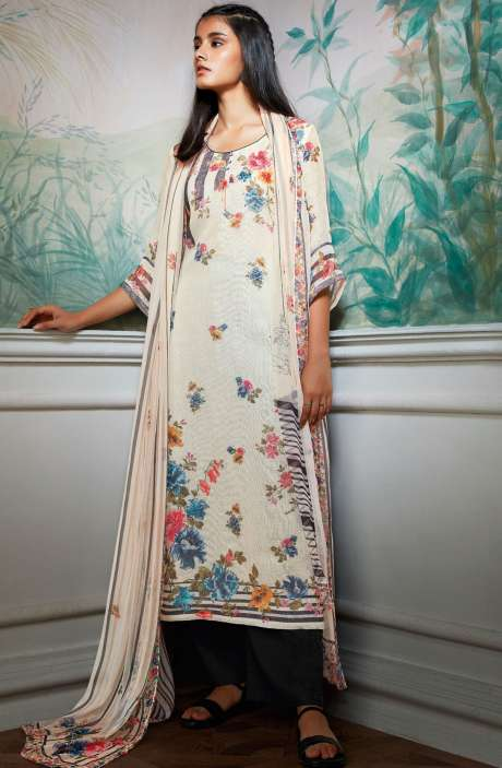 Cotton Linen Digital Floral Print Salwar Kameez In Cream - HOL7314R