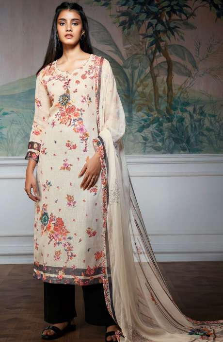 Cotton Linen Digital Floral Printed Salwar Suit In Cream - HOL7316R