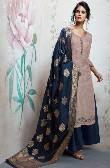 Wedding Wear Designer Satin Silk Sequence, Thread and Zari Work  Suit Sets In Fawn and Blue | HOO6819