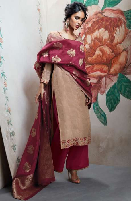 Wedding Wear Designer Satin Silk Sequence, Thread and Zari Work  Suit Sets In Brown and Red | HOO6820